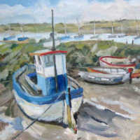oil painting of brancaster boats