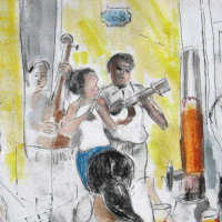 etching of cuban musicians