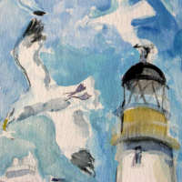 painting of birds and lighthouse