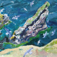 painting of cleaver rock st abbs